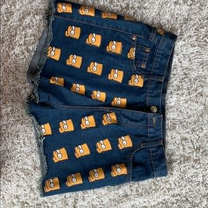 Pants - Fun Bart Simpson high waisted shorts